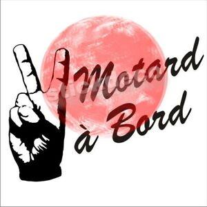 Stickers Autocollant motard à bord motard merci V decal main doigt signe v
