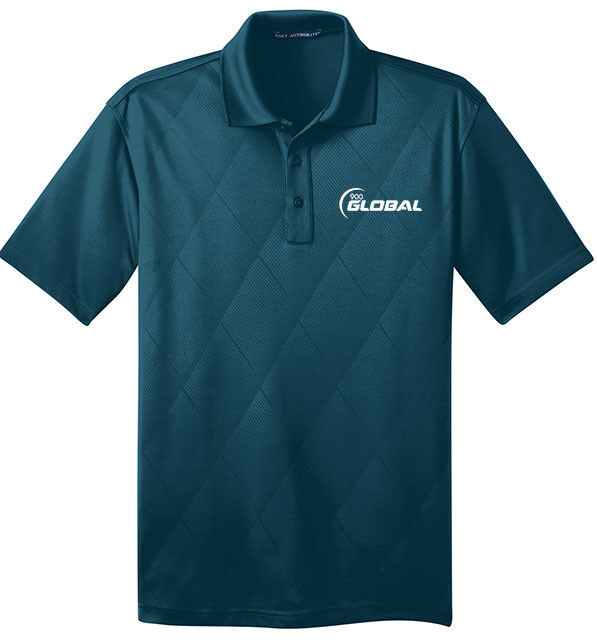 900 Global Men's Jewel Performance Polo Bowling Shirt Dri-Fit Argyle Teal bluee