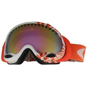 Oakley 59-185 A Frame Huntress White VR50 Pink Iridium Womens Snow Ski Goggles