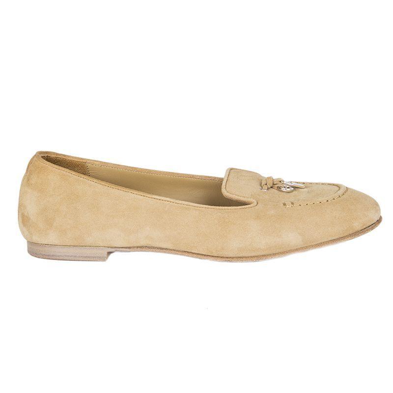 54917 Auth Loro Piana Beige Mocasines De Gamuza Cuero Cuero Cuero Tassle Ballet Zapatos sin Taco 36  artículos novedosos