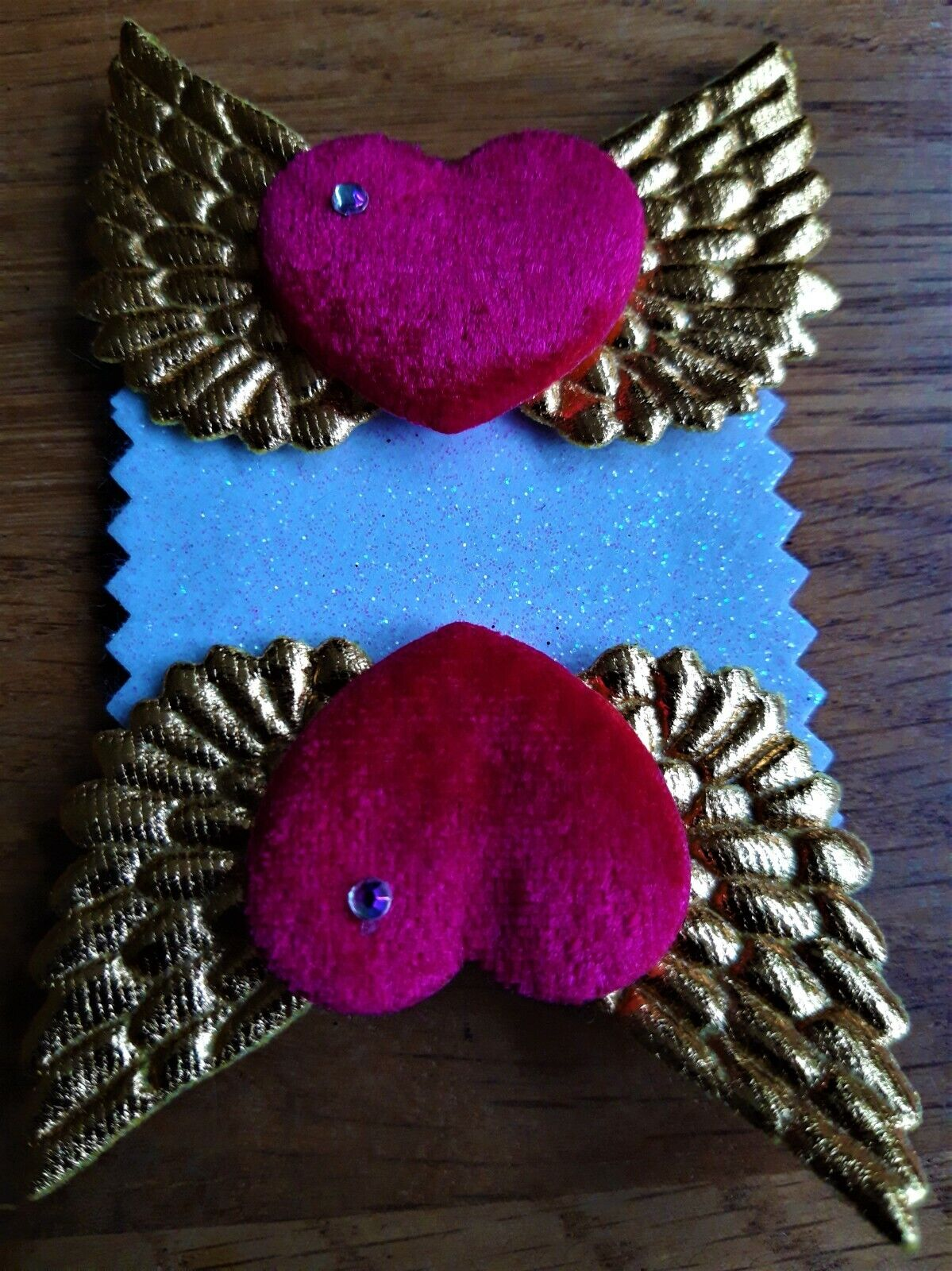 Hot Pink Velvet Hearts and Gold Wing Shoe Clips - Rock'n'Roll Bride, Pin-Up