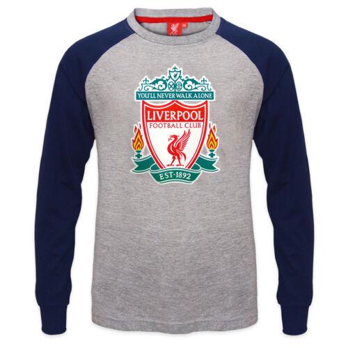 Liverpool FC Official Football Gift Kids Crest Long Sleeve Raglan T-Shirt