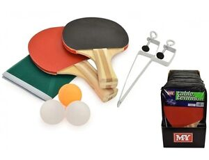 Table Tennis Ping Pong Set Includes 3 Balls 2 Paddle Bats Net ...