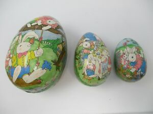 3-West-German-Paper-Mache-Nesting-Easter-Eggs