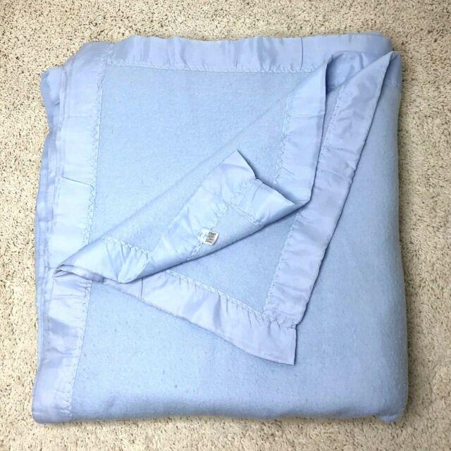 Vintage Acrylic Blanket Full Queen Satin Trim Binding On