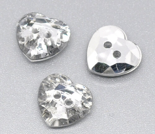 Crystal Heart Acrylic Sewing Buttons Scrap book 12x12mm Bling 25 Silver Plated