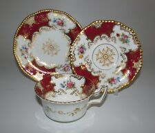 Rare Antique Coalport Red Batwing Pattern Tea Cup, Saucer, Side Plate Trio.