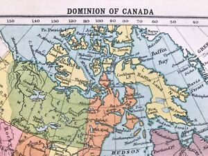 Map Of Canada 1905.Antique Original 1905 British Dominion Of Canada Rare Color