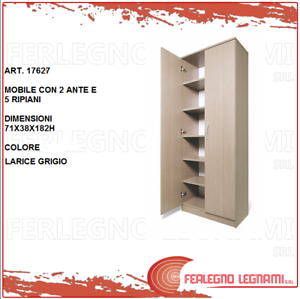 17627 Complete In Specifications Mobile 2 Ante 5 Ripiani 71x38x182h Armadio Multiuso Larice Grigio Art Armoires & Wardrobes