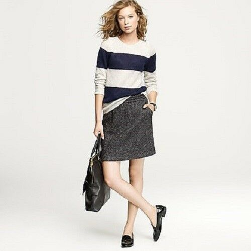 128 J.CREW LEATHER TIPPED BELL SKIRTWOOL BLENDHERRINGBONE507148   MEDIUM