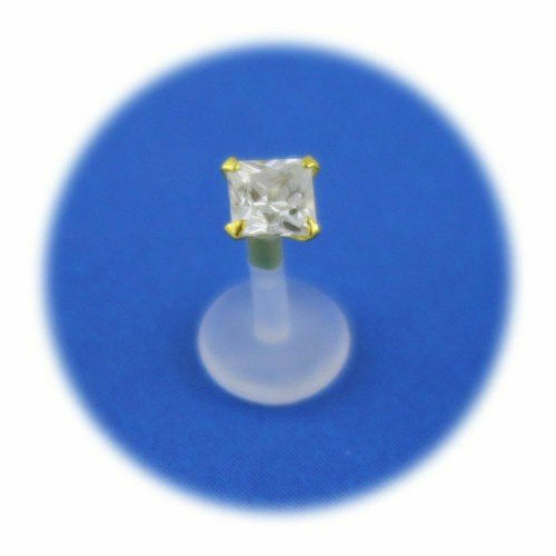 Piercing labret bioflex square crystal set with gold plated 2 Crystal Size