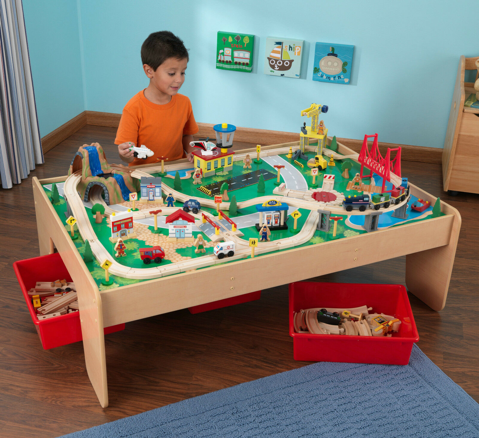 NEW KidKraft Wooden Waterfall Mountain Train Set and Table