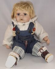 """Cathay Collection Baby Boy overalls Doll 16"""" Porcelain"""