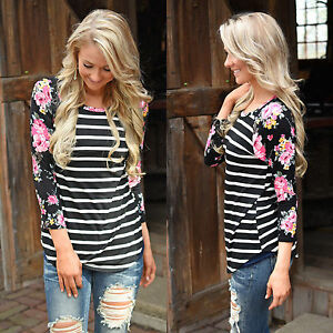 Sommer-Damen-Blume-Gestreift-Bluse-Lanarm-Shirt-Loose-Tunika-Tops-T-shirt-Tops