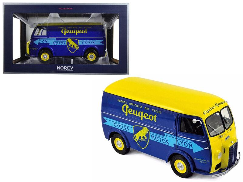 1   18 norev 1956 peugeot d4a zyklen peugeot ein diecast modell auto blau - gelb 184710