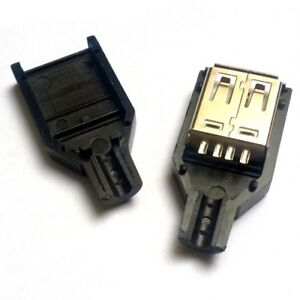 3-Pcs-USB-Type-A-Female-DIY-Connector-Plug-Jack-With-Shell-ships-from-US