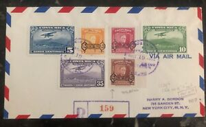 1953-Costa-Rica-First-Day-Airmail-Cover-To-New-York-USA-C224-6-Roosevelt-Stamps