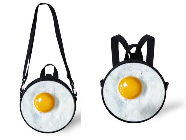 Fried Egg Print Bags  Kids Backpack Purse Women Fashion Shoulder Messenger Bag