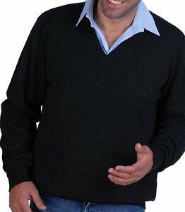Balldiri uomo da con a L Pullover V Cashmere screziato antracite scollo 100 rxpwqrRT