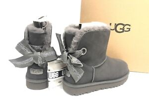 2b78b0fd850 Details about UGG Australia Customizable Bailey Bow Mini Shearling Boots  Charcoal Grey 1100212