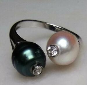 Details zu UNIKAT Barock Südsee Tahiti Perlen Ring Silber 925 verstellbar Damenring Doppel