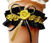 Satin-Strumpfband Braut schwarz gelb mit Schleifen und Rose Hochzeit