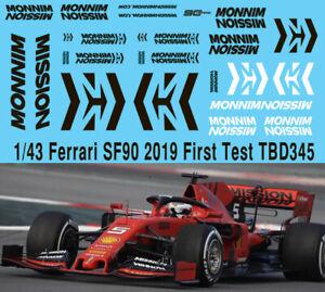 1/43 2019 Formula 1 Ferrari Sf90 Test Mission Winnow Decals Tb Decal Tbd345 Couleurs Harmonieuses