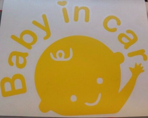 """BABY IN CAR safety waving vinyl decal sticker graphic CHOOSE COLOR 4/"""" or 6/"""""""