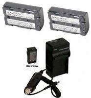 2 Batteries +charger For Panasonic Pv-dv400d Pv-dv401 Pv-dv402 Pv-dv600 Pv-dv601