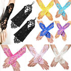 Color Pearl lace Bridal glove Wedding Prom Party Costume Long Gloves Fingerless
