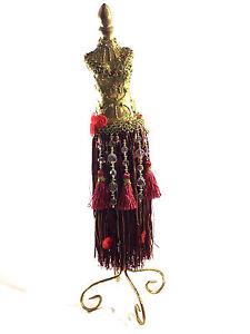 Vintage-Necklace-Stand-Golden-Mannequin-Form-w-Red-Dress-18-034-H
