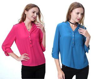 Les-femmes-col-V-a-manches-longues-en-mousseline-de-soie-Tops-Casual-Tee-shirt-chemisier-grande
