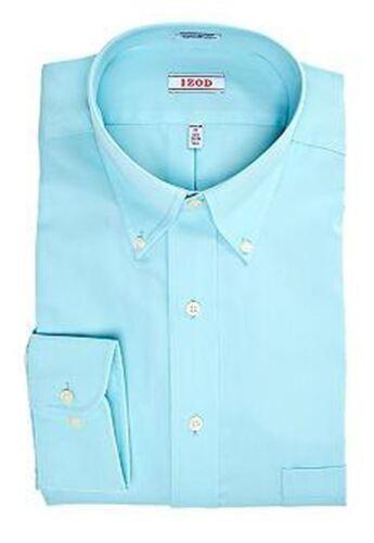 Mens Shirt IZOD Regular Fit Cotton Blend Easy Iron Long Sleeve