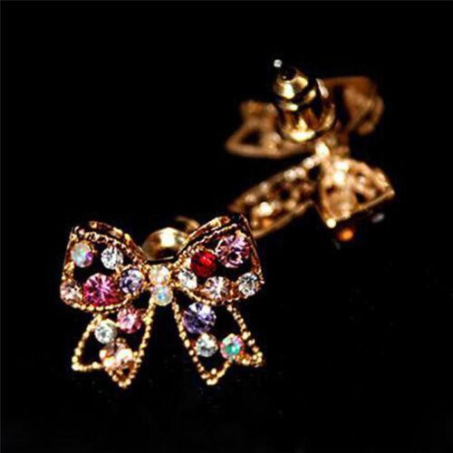 Charming Girl Bunte Kristall Strass Golden Bowknot Charm Ohrstecker Heiß