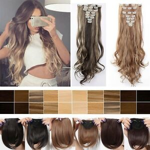 Uk 8pcs full head half head clip in hair extension as human brown image is loading uk 8pcs full head half head clip in pmusecretfo Images