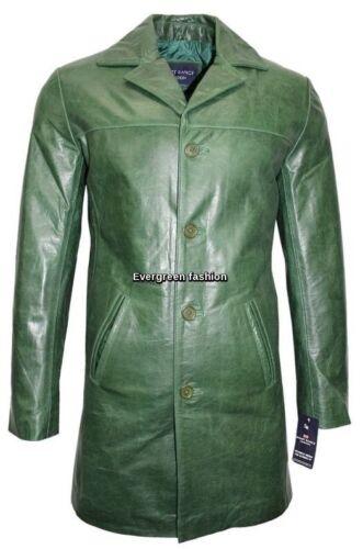 Uomini 4 pulsanti 3476 Blazer classico verde Cowhide SMALTO lung Giacca in pelle