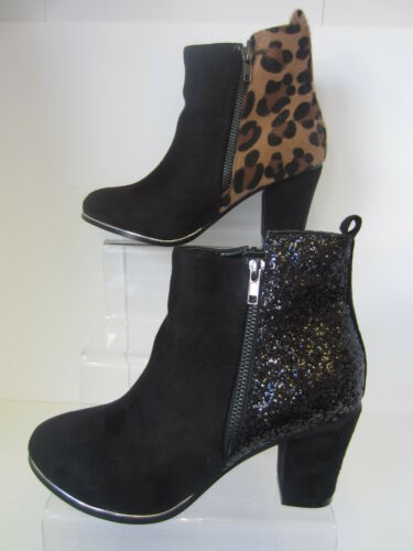 Ladies Spot On Black and Leopard Heeled Ankle Boots Sizes 3-8 F50465