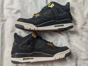 US-SIZE-6-5Y-Nike-Air-Jordan-4-Retro-BG-Royalty-Black-Gold-White-408452-032