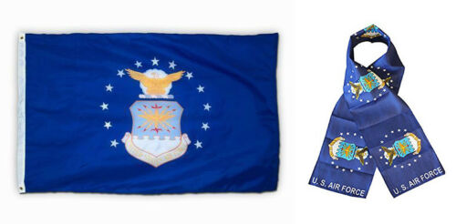 "Air Force USAF 3x5 3'x5' Flag and 8/""x60/"" Scarf Wholesale Combo Set U.S"