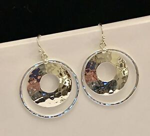 SILPADA-Silver-Perspectiva-Hammered-Double-Circle-Earrings-W1322-POPULAR-CUTE