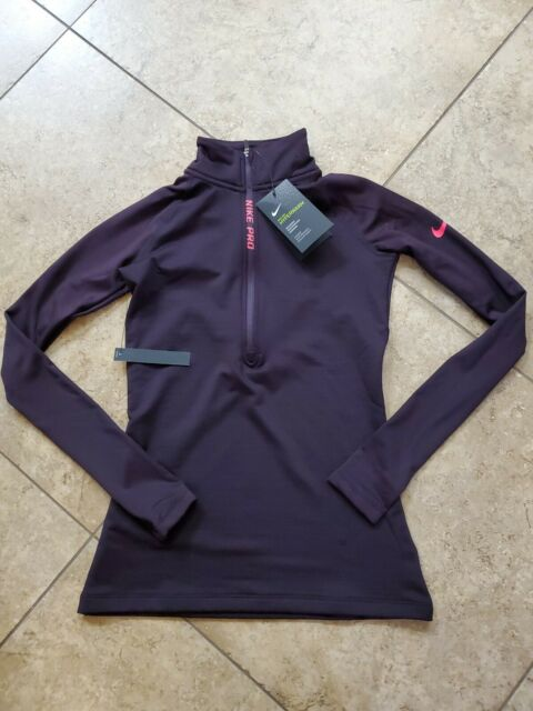 Nike Pro Hyperwarm Half-Zip Women/'S Training XS S M L XL Top Black Volt Shirt