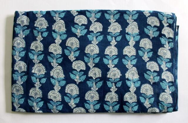 Indigo Blue hand block Print 100% cotton Jaipuri Indian Dress Fabric Dabu Prints