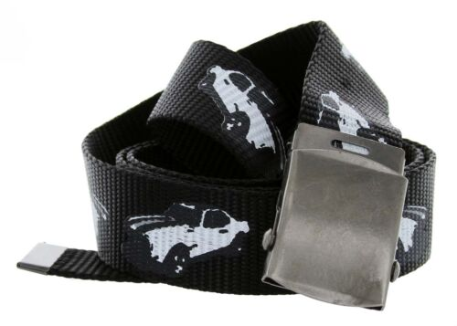 """Muscle Car Canvas Web Fabric Belt with Metal Military Buckle Fits up to 44/"""""""