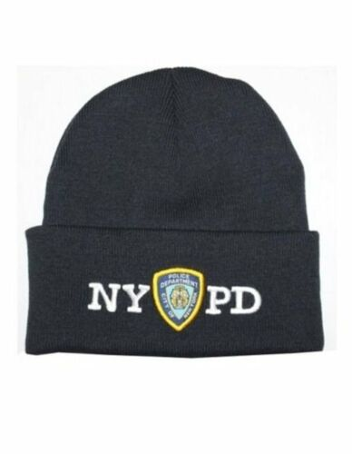 Mens NYPD Winter Hat Police Badge New York Police Beanie Navy /& White One Size
