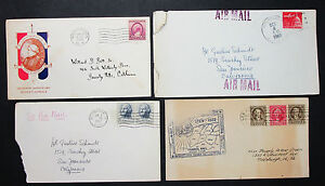 US-Postage-Illustrated-Set-of-4-Covers-Letters-Envelopes-Lupo-USA-H-8264