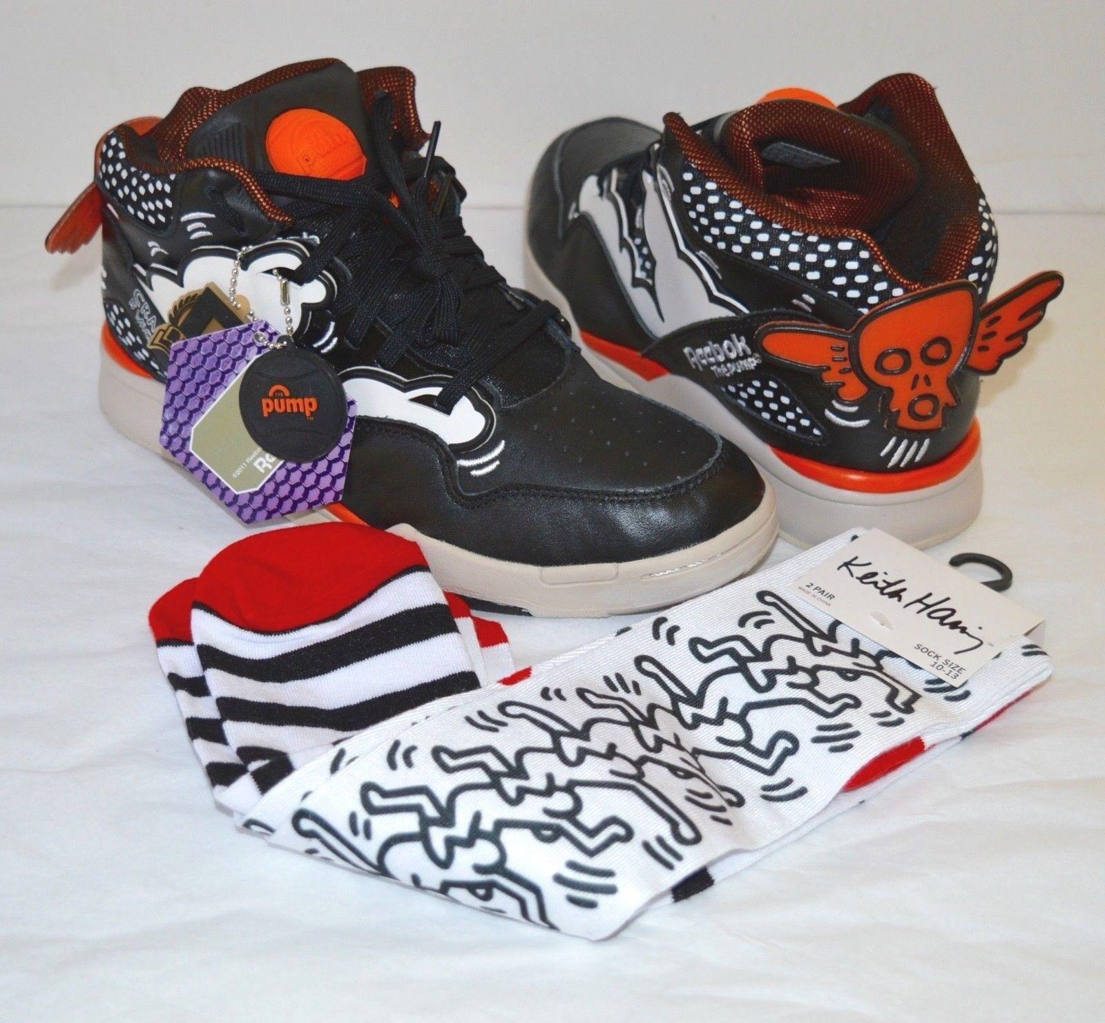 New  Reebok Omni Lite Pump Keith Haring nero  Blazing arancia  bianca Art 8 w  Socks  negozio di moda in vendita