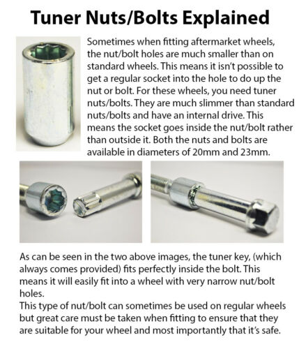 4 x M12 x 1.5 Tuner Bolts with Key 28mm Thread