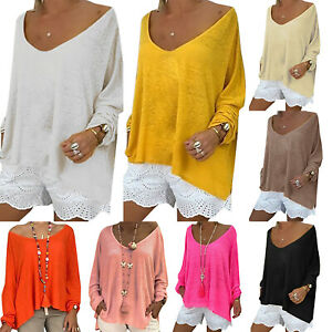 Women-V-Neck-T-Shirt-Summer-Tops-Tunic-Solid-Blouse-Baggy-Long-Sleeve-Plus-Size