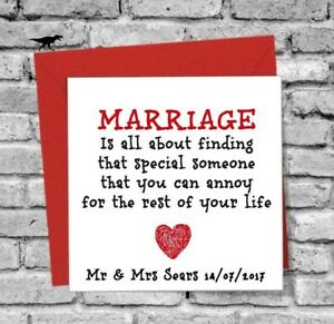 Details About Wedding Day Card Gift Anniversary Bride Groom Marriage Best Friend Funny Mum Dad