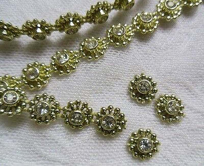9MM Lt Gold Bead Rhinestone Crystal Floral Chain/ Trims,Sew/ Glue On-1 Yard-T581